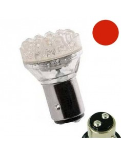 2 Ampoules BAY15D 18 Leds Rouges 12v 21/5w