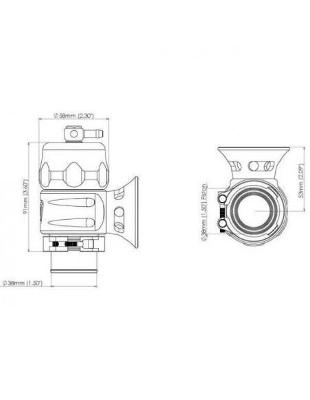 Turbo valve Universel à circuit ouvert TURBOSMART Supersonic Noir