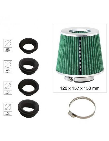 Filtre Admission directe Universel Double cone Vert Couronne Inox