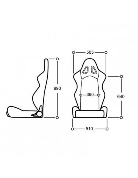 Mesures du Siège baquet Fibre FIA OMP TRS-X Noir/Jaune
