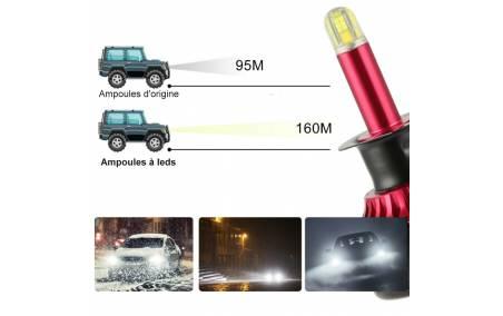 Distance d'éclairage des  Ampoules H7 à leds 360° Haute Qualité 30000Lm/6500k