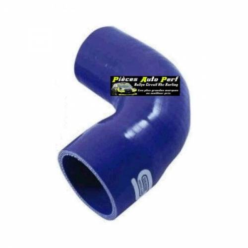 Durite Réducteur coudé 90° Silicone renforcé Bleu Diamètre 28mm/25mm