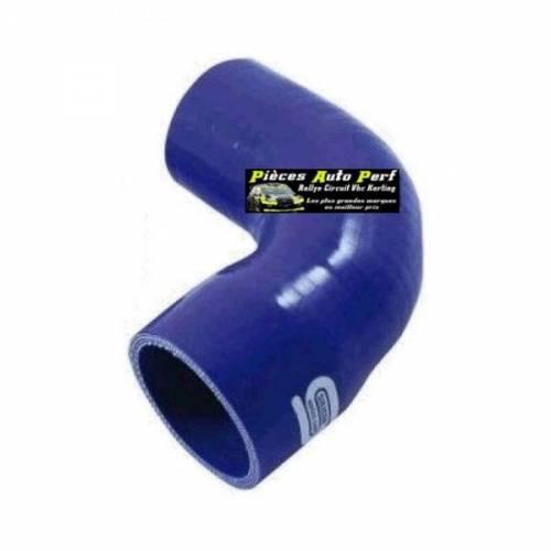Durite Réducteur coudé 90° Silicone renforcé Bleu Diamètre 76mm/63mm