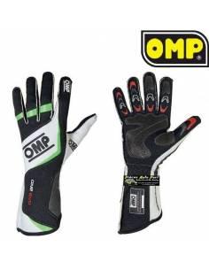 Gants Pilote FIA OMP ONE Evo Noir/Blanc/Vert Fluo