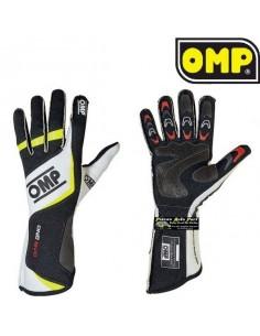 Gants Pilote FIA OMP ONE Evo Noir/Blanc/Jaune Fluo