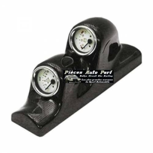 Support montant pare-brise Look Carbone pour 2 Manos Diamètre 52mm
