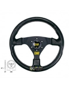 Volant 3 branches Noir diamètre 330mm OMP Racing GP Simili Cuir Noir