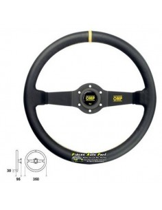 Volant 2 branches Noir diamètre 350mm OMP Rally Cuir Noir