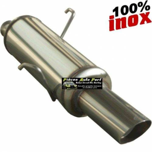 SILENCIEUX INOX SIMPLE SORTIE RALLY Diamètre 90mm Peugeot 106 1.1 Année jusqu'à 1996