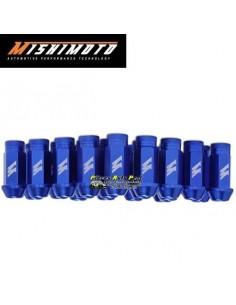 Set de 20 Ecrous de roue Racing coniques ouverts Alu Bleu Filetage 12x150
