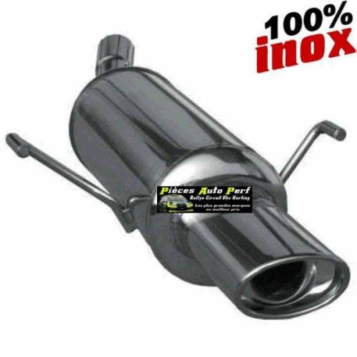 SILENCIEUX INOX SIMPLE SORTIE OVALE Diamètre 120x80mm Peugeot 106 1.6 16v Année 1996 à 2003