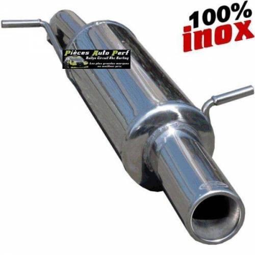 SILENCIEUX INOX SIMPLE SORTIE RONDE Diamètre 80mm Peugeot 106 1.6 16v Rallye Année 1996 à 2003