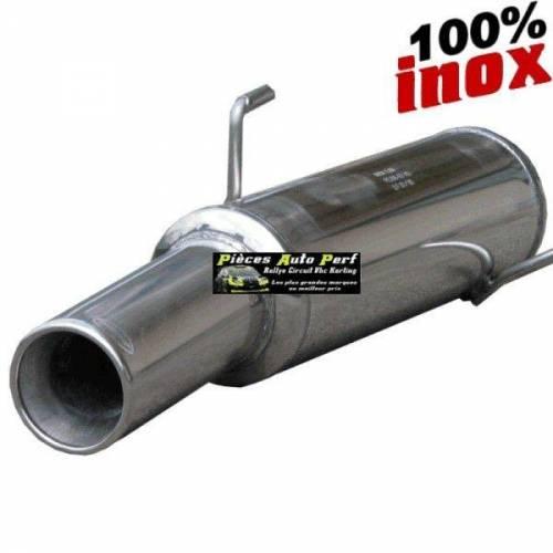 SILENCIEUX INOX SIMPLE SORTIE RONDE Diamètre 102mm Peugeot 106 1.6 16v Rallye Année 1996 à 2003