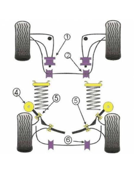 4 Silentblocs renforcés Performance pour Extérieur de tirants arrière de BMW E30