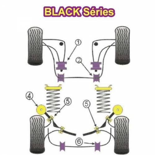 4 Silentblocs renforcés Black pour Extérieur de tirants arrière de BMW E30