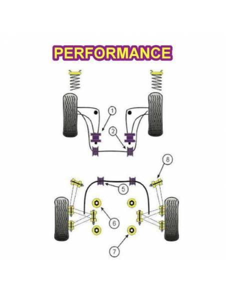 2 Silentblocs renforcés Performance pour pallier de barre anti-roulis avant BMW E36