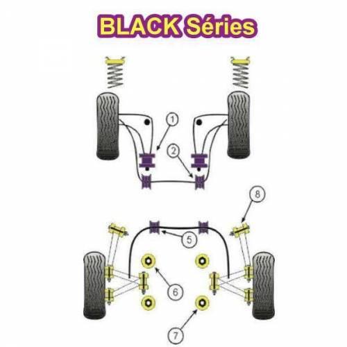 2 Silentblocs renforcés Black pour pallier de barre anti-roulis avant BMW E36