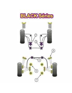 2 Silentblocs renforcés Black pour l'Avant des bras arrière BMW E36