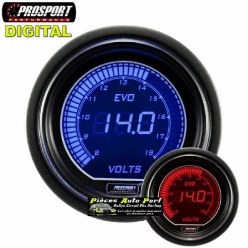 MANOMETRE DIGITAL VOLTMETRE PROSPORT Diamètre 52mm 8/18 Volts
