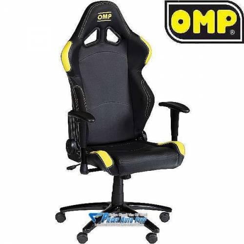 Si ge de bureau roulettes en simili cuir noir et jaune omp - Siege de bureau cuir ...