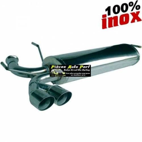 Silencieux échappement arrière Inox 2 sorties Racing Diamètre 80mm PEUGEOT 206 RC 2l0 16v