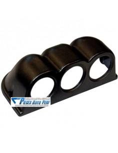 Support tableau de bord PVC Noir pour 3 Manos diamètre 52mm