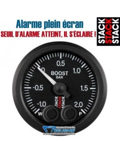 Manomètre pression de Turbo STACK PRO-CONTROLE Diamètre 52mm -1/+2 Bars fond Noir