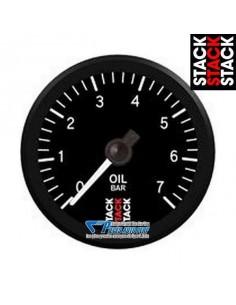 Manomètre pression d'Huile STACK PRO Diamètre 52mm 0/7 Bars fond Noir