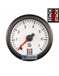Manomètre pression d'Huile STACK PRO Diamètre 52mm 0/7 Bars fond Blanc