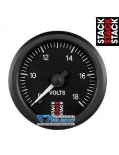 Manomètre Voltmètre STACK PRO Diamètre 52mm 8/18v fond Noir