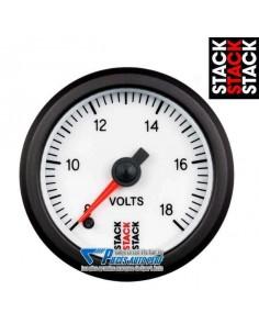 Manomètre Voltmètre STACK PRO Diamètre 52mm 8/18v fond Blanc